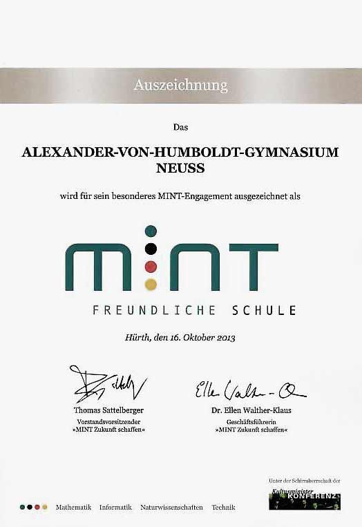 Urkunde MINT-freundliche Schule