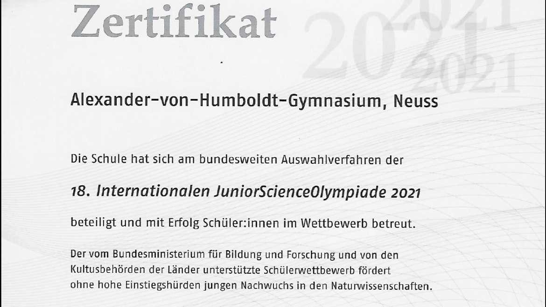 Erfolgreiche Teilnahme an der JunioScienceOlympiade
